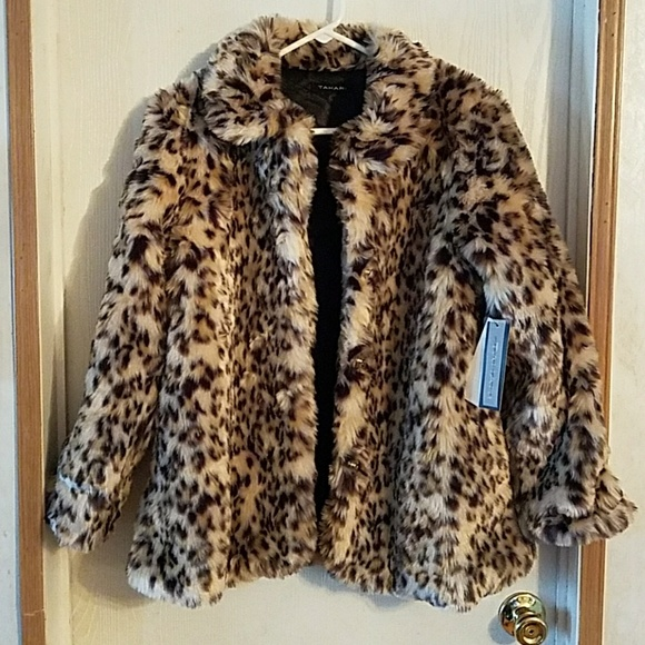 Tahari Other - TAHARI- Cheetah Long Fur Girl's Jacket, Size 14/16
